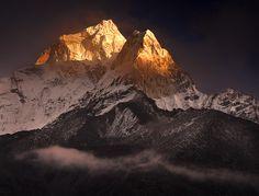 Golden Mountain Peak Snow, Himalayas, Nepal