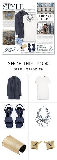 """""""Ceci n'est pas une pipe"""" by helleka ❤ liked on Polyvore featuring Zara, MANGO, Yves Saint Laurent, Jení and Alexandra Beth Designs"""