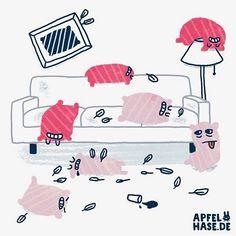 Kissenschlacht - der Morgen danach  Pillow fight - the morning after.  #365doodlesmitjohanna #kissenschlacht #kissen #pillowfight #pillow #pillows #hangover #kater #morning #mornings #party #illustration #illustrationart #illustratorsofinstagram #draw #drawing #zeichnen #creative #kreativ #funny #cute #character #apfelhase #doodle #daily #dailydrawing