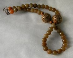 Gilded Tibetan copper beads with jade beads by CloudPineStudio