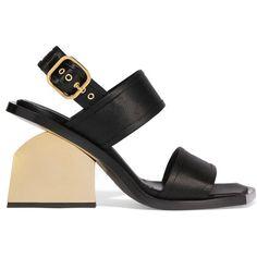 Marni Satin slingback sandals ($705) ❤ liked on Polyvore featuring shoes, sandals, black, black sandals, buckle sandals, block heel sandals, black chunky sandals and black slingback sandals