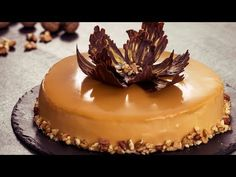- Walnut Caramel Mirror Cake - with coffe-mascarpone mousse - a dessert cake Elegant Desserts, Köstliche Desserts, Chocolate Flowers, Chocolate Strawberries, Food Cakes, Coffee Mousse, Cake Recipes, Dessert Recipes, Mirror Glaze Cake