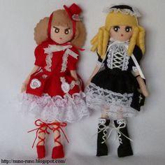 Muñecas Lolitas de fieltro con plantilla