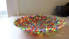 How to make a bowl with plastic beads.
