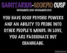 Scorpio Sagittarius Cusp  #Scorpio #astrology #zodiac https://www.facebook.com/ScorpioEvolution