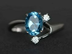 Oval cut blue topaz ring love ring engagement wedding ring 925 sterling silver #Affinity Gemstone Engagement Rings, Engagement Ring Cuts, Gemstone Rings, Blue Topaz Ring, Topaz Gemstone, Ladies Silver Rings, Three Stone Rings, Love Ring, London Blue Topaz