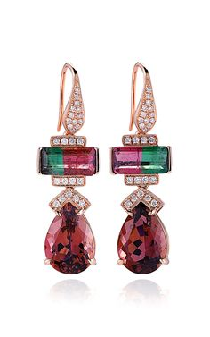 Rose Gold, Watermelon Tourmaline and Diamond Earrings by Dana Rebecca Designs