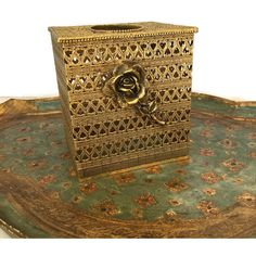 Vintage Brass Tissue Box, Gold Filigree Metal Tissue Holder, Kleenex... ($25) ❤ liked on Polyvore featuring home, bed & bath, bath and bath accessories