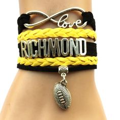 Infinity Love Richmond Tigers Football Bracelet BOGO Football Bracelet, Australian Football, Infinity Love, Football Team, Tigers, Bracelets, Jewelry, Free, Products
