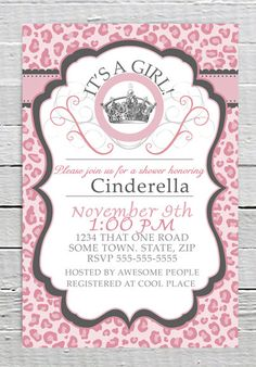 Coupon Code - REPIN10 for 10% off Zebra Pink Cheetah Baby Girl Shower Invitation Printable Leopard Custom Crown Invite JPG Digital Printable File Animal Print Party Supplies $10.99