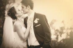 sepia toned photo of the happy couple - wedding photo by Australia based wedding photographer Natasha Du Preez