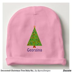Shop Decorated Christmas Tree Baby Hat (Custom Name) created by AponxDesignsAnnex. Baby Beanie Hats, Baby Girl Hats, Personalized Christmas Gifts, Best Christmas Gifts, Top Gifts, Cute Gifts, Skull And Crossbones, Consumer Products, Toddler Fashion