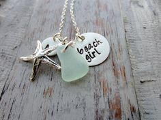 Beach Girl, Personalized Charm Necklace, Sterling Silver Starfish, Sea Glass and Initial Charm, Sea Foam, Mint Green, Hand Stamped