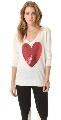 buy the exact wildfox sequin heart sweater worn on the mindy project Love Fashion, Fashion Beauty, Autumn Fashion, Spring Fashion, David Bowie Fashion, Casual Outfits, Cute Outfits, Heart Sweater, Comfy Casual