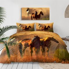 Horse Couple, Couple Bed, Bed Covers, Duvet Cover Sets, Bedroom Sets, Bedroom Decor, Horse Bedding, Brown Horse, Bedspread