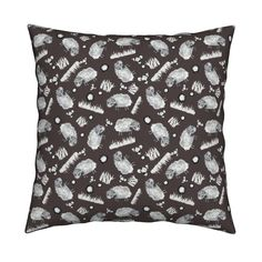 Catalan Throw Pillow featuring SOFT AS A CLOUD SHEEP Ditsy BW on Brown by…