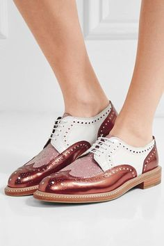 Robert Clergerie - Roeltm Glittered And Metallic Leather Brogues - Copper - IT37.5