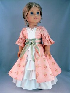 """Colonial style dress and petticoat for Elizabeth/Felicity 18"""" American Girl Doll - An original design from Bringing Joy"""