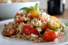 Caprese Barley Salad: Tomatoes, mozzarella and basil, combined with chewy barley make a great refreshing salad
