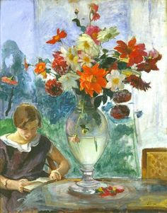 Henri Lebasque   |   Vase of flowers and young woman reading, 1915