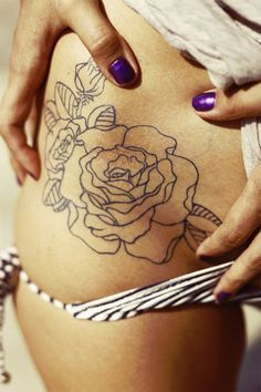 Flower Hip Tattoo, Outline - No Fill i know this isnt finished, but i want a rose tattoo on my hips soooo bad Trendy Tattoos, Cute Tattoos, Beautiful Tattoos, Body Art Tattoos, New Tattoos, Tattoos For Women, Tatoos, Ankle Tattoos, Tattoo Women