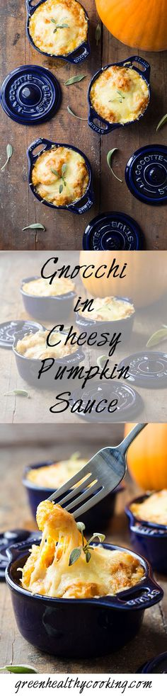 Gnocchi in Cheesy Pumpkin Sauce: a healthy vegetarian recipe that is heart and bone-warming and will make you love fall and pumpkin season even more!!