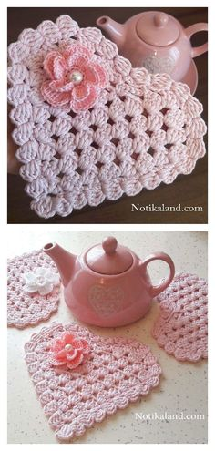 Heart Coaster Free Crochet Pattern and Paid - Uncinetto - Motivi Per Uncinetto Crochet Home, Crochet Gifts, Crochet Kitchen, Thread Crochet, Knit Crochet, Crochet Owls, Wire Crochet, Blanket Crochet, Knitting Patterns