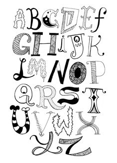 Drawing Letters Of The Alphabet Doodle Fonts, Doodle Lettering, Creative Lettering, Lettering Styles, Doodle Art, Hand Lettering Alphabet, Alphabet Art, Calligraphy Letters, Graffiti Alphabet