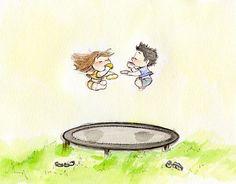 Een springkussen trampoline, vrienden, zon & thee... de perfecte combinatie voor een zondag middag.  Trampoline Tea Time is een 5 x 7 bedrukt met een professionele 8-kleurenprinter op zware aquarel papier met archival inkt.  Elke prent is ondertekend en verpakt in een beschermende