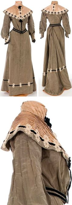 Ensemble, ca. 1900-1905 judging from the style. Gray silk taffeta with black stripes and beige pleated silk satin. Boned bodice; bodice and skirt lined in pink satin. Textile Museum & Documentation Center of Terrassa (IMATEX)
