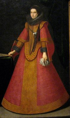 Spanish, 17th century The formality of the image and elegance of the ladys costume link the painting to to the royal court in Madrid. The style of the costume dates to about 1630, but the only clue to her identity are the initials on her pendant: LVSS. Possible creators inculde Bartolome Gonzales and Roderigo de Villandrando.