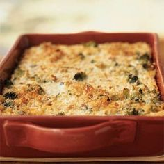 Broccoli and Three-Cheese Casserole, Cooking Light. li remains slightly crisp in this recipe, though you can substitute any leftover cooked vegetables. Healthy Casserole Recipes, Healthy Recipes, Healthy Dinners, Healthy Foods, Yummy Recipes, Casseroles Healthy, Dinner Recipes, Healthy Eating, Savory Foods