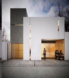 rumah jakarta timur Green Things green color names Minimalist Architecture, Modern Architecture House, Facade Architecture, Villa Design, Facade Design, Exterior Design, Design Design, House Front Design, Modern House Design