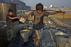 https://flic.kr/p/cHFUVL | CAN YOU SEE ME? Nawab, 12 | Bangladesh, December 2007: (Foreground) Nawab and his friend Jabar make glue by boiling scraps of leather that they scavenged from debris, in Dhaka District. The work – which exposes them to myriad toxic chemicals – earns each boy about 60 taka (approximately US$0.88) for each 13-hour shift. They are among nearly 215 million children involved in labour worldwide, of whom nearly 115 million work in hazardous conditions.  © UNICEF/Shehzad…