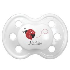 Personalized Red and Black Ladybug Baby Pacifiers