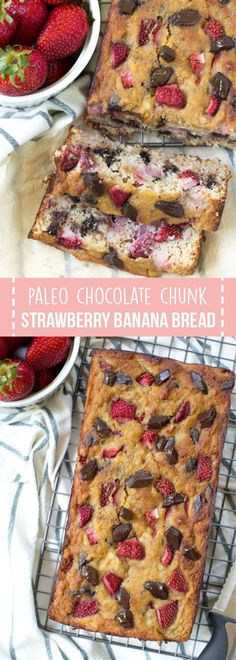 Paleo Chocolate Chunk Strawberry Banana Bread is made in one bowl and comes together easily! The bread is made with fresh strawberries and is naturally gluten free. #recipe #healthyrecipes #paleo #bananabread #strawberry #dessert  #chocolate