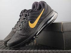 5f24c2643e0a Nike Air Max 2017 Mesh Men Black Gold Logo Shoes Gold Nike Shoes