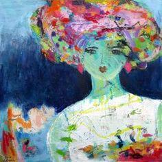 """Lisi Binder, """"Frau mit Turban"""", Acryl auf Papier, 20x20 cm"""