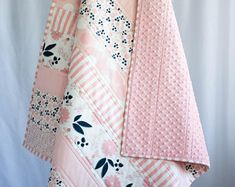 Pink and Navy Quilt, Baby Shower Gift Girl, Baby Quilts Handmade, Floral Baby Flowers . Quilt Baby, Baby Girl Crochet Blanket, Quilted Baby Blanket, Baby Quilt Patterns, Baby Girl Bedding, Baby Girl Quilts, Girls Quilts, Baby Girl Blankets, Crib Bedding