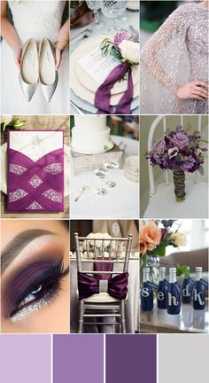 romantic wedding color ideas in shades of purple and silver