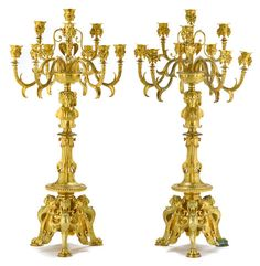 A fine pair of French Neo Greco gilt bronze ten light candelabra Ferdinand Barbedienne Foundry, Paris, fourth quarter 19th century