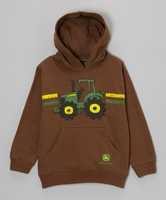 Take a look at this Brown Cartoon Tractor Hoodie - Boys by John Deere on #zulily today!