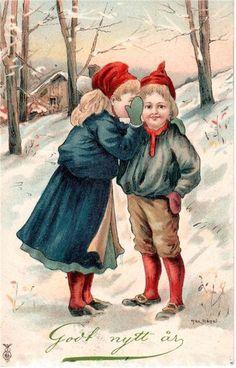 Sweden Christmas, New Year Card, Scandinavian Christmas, Vintage Christmas Cards, Vintage Pictures, Folklore, Elves, Childrens Books, Drawings