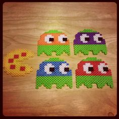 TMNT Ghosts and Pizza PacMan perler beads by dewolfphotography