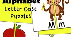 Free printable Alphabet Letter Case Puzzles. 26 self-correcting puzzles with a fun picture that gets completed when a letter match is found.