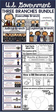 Are you teaching your students about the three branches of government? The executive branch, legislative branch, and judicial branch are an integral part of the U. Learn about the roles of the U. president, Congress, and the Supreme Court. 4th Grade Social Studies, Social Studies Activities, Vocabulary Activities, Teaching Social Studies, Student Learning, Writing Activities, Social Studies Projects, Social Studies Classroom, Science Classroom