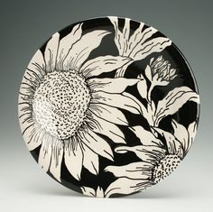 "Sunflower Plate Hand Painted 10"" Round Coupe Dinnerware Black and White"