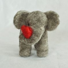 Needle felted elephant with heart, $21 on etsy