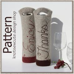 Felted Wine Bottle Gift Bag  Crochet Pattern PDF  by knotsewcute, $4.99