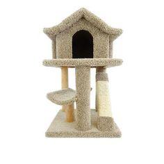 """New Cat Condos 32"""" Premier Mini Pagoda Cat Condo Color: Brown"""